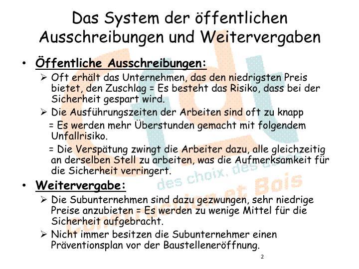 Das System der öffentlichen Ausschreibungen und Weitervergaben