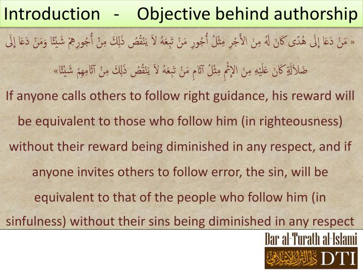 Introduction   -    Objective behind authorship