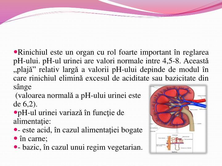 Rinichiul este un organ cu rol foarte important în reglarea pH-ului. pH-ul urinei are valori normale intre 4,5-8. Aceast
