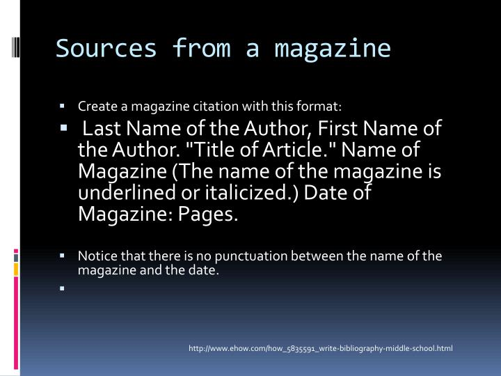 Sources from a magazine