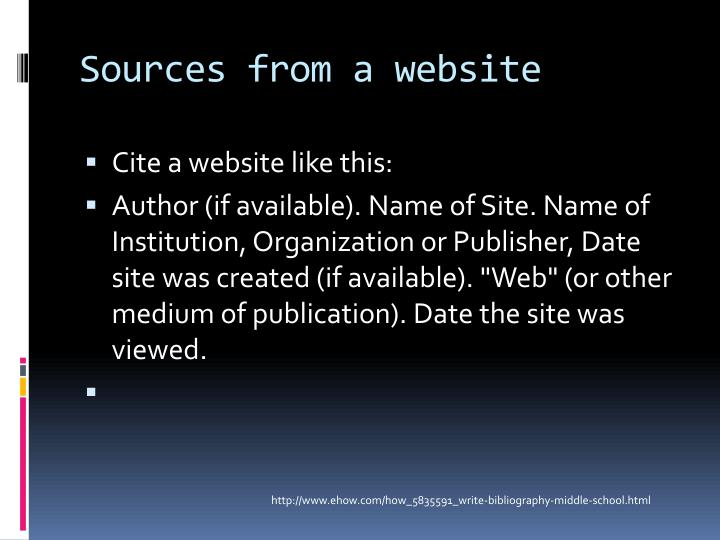 Sources from a website