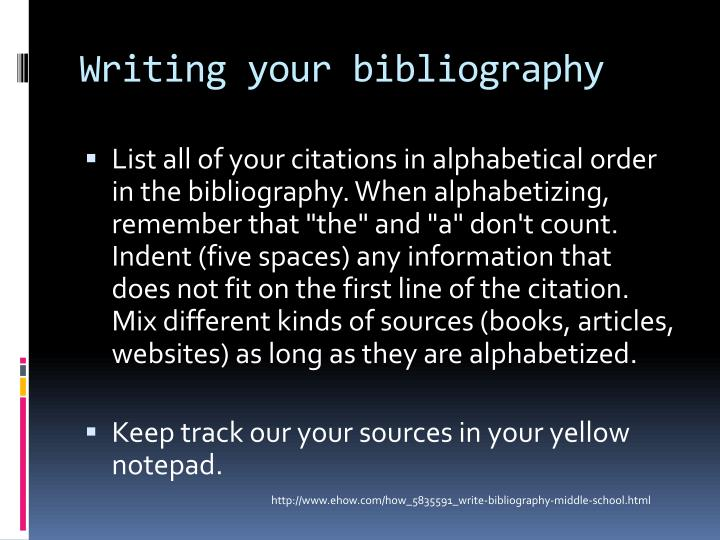 Writing your bibliography