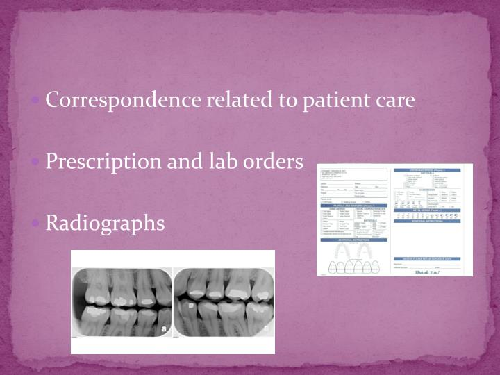 Correspondence related to patient care