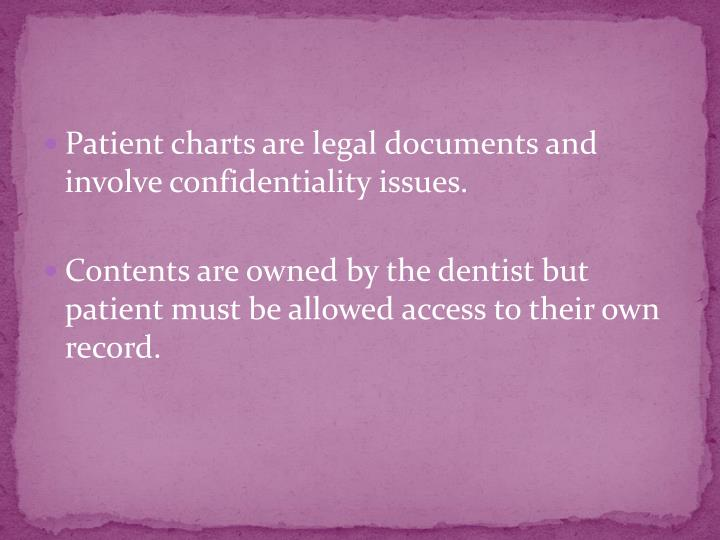 Patient charts are legal documents and involve confidentiality issues.