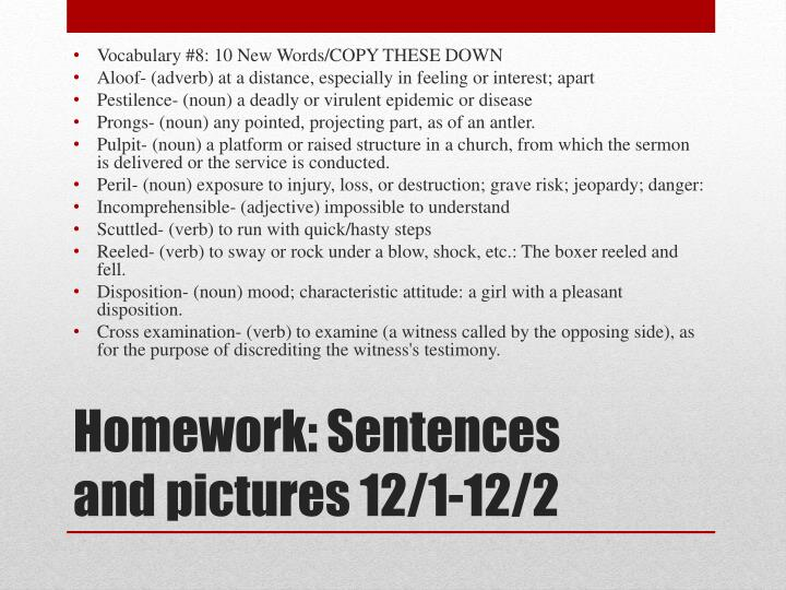 Vocabulary #8: 10 New Words/COPY THESE DOWN