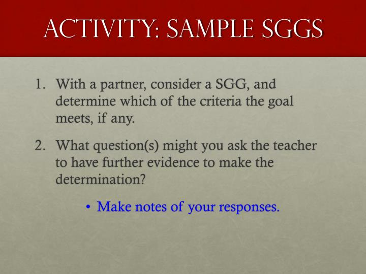 Activity: Sample SGGs