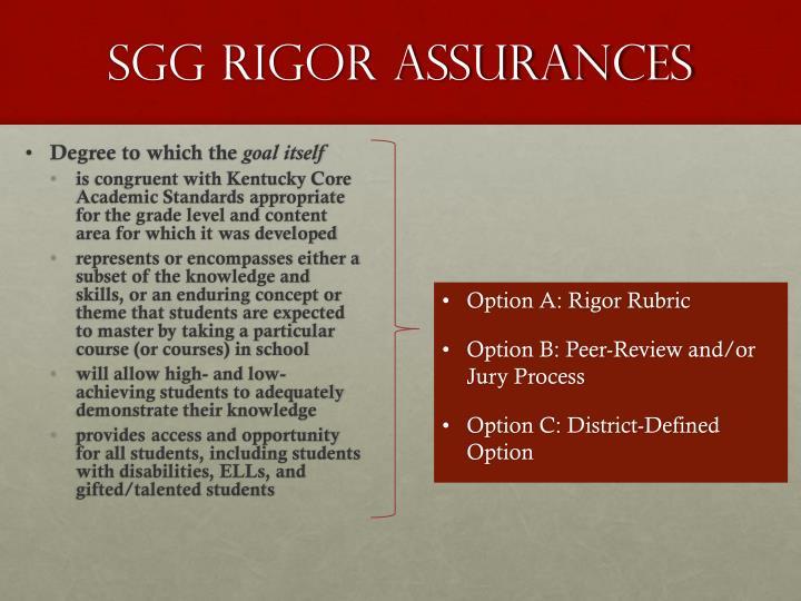 SGG Rigor Assurances