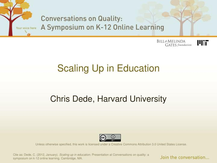 Scaling up in education