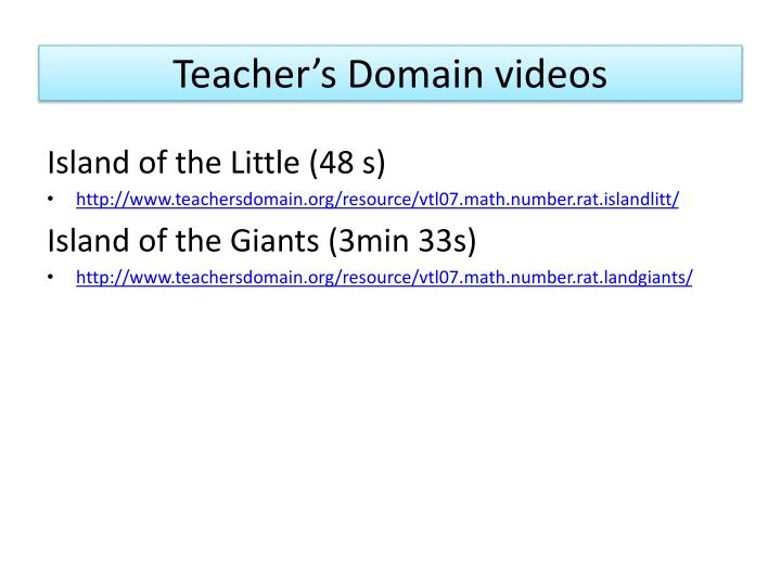 Teacher's Domain videos