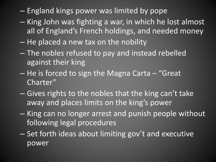 England kings power was limited by pope