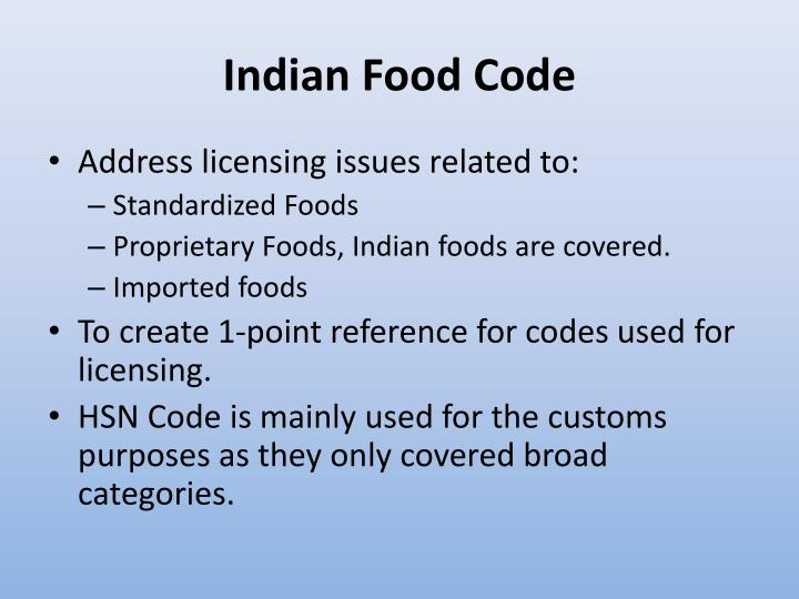 Indian Food Code