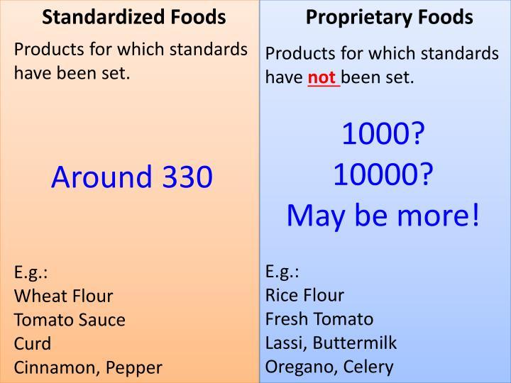 Standardized Foods