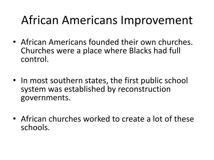 African Americans Improvement