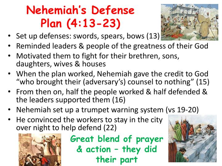Nehemiah's Defense Plan (4:13-23)
