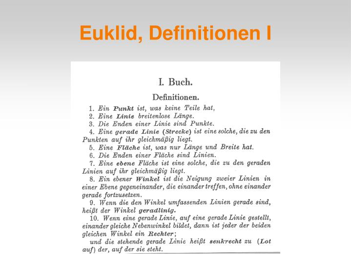 Euklid, Definitionen I