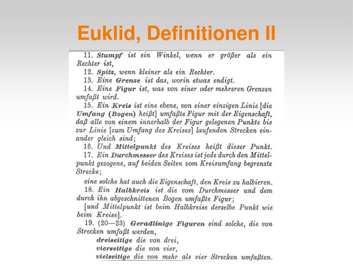 Euklid, Definitionen II