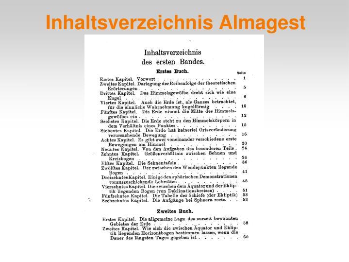 Inhaltsverzeichnis Almagest