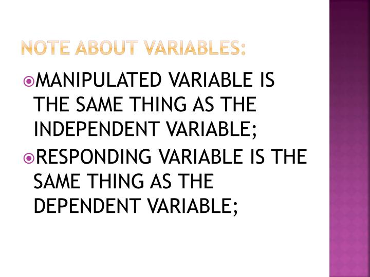 NOTE ABOUT VARIABLES: