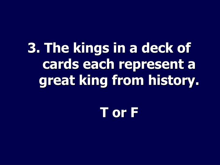 3. The kings in a deck of cards each represent a great king from history.