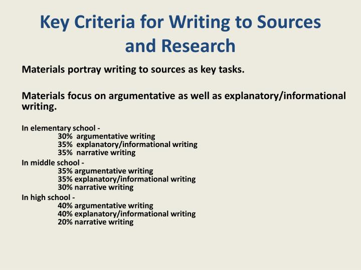 Key Criteria for Writing to Sources and Research