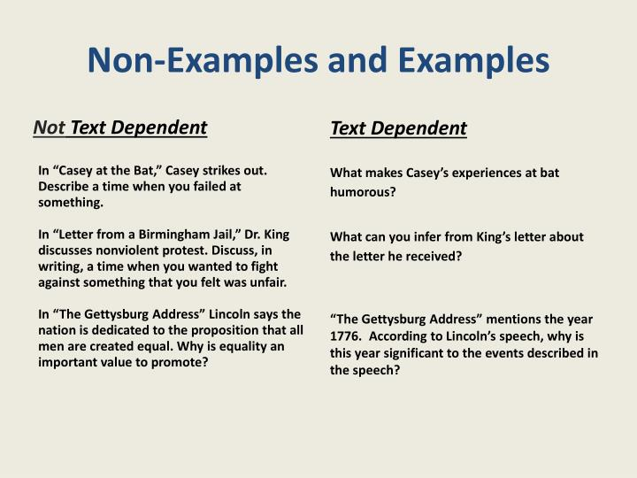 Non-Examples and Examples