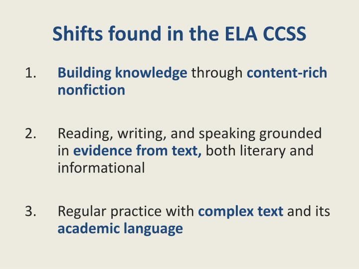 Shifts found in the ELA CCSS