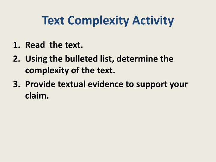 Text Complexity Activity