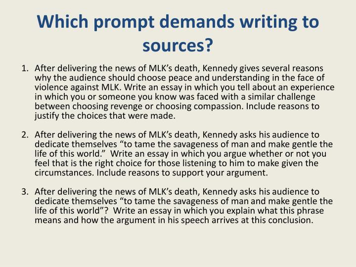 Which prompt demands writing to sources?