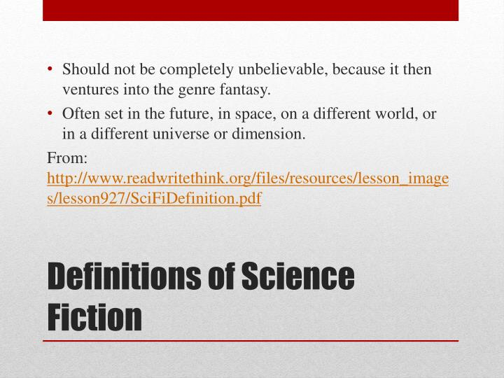 Definitions of science fiction1