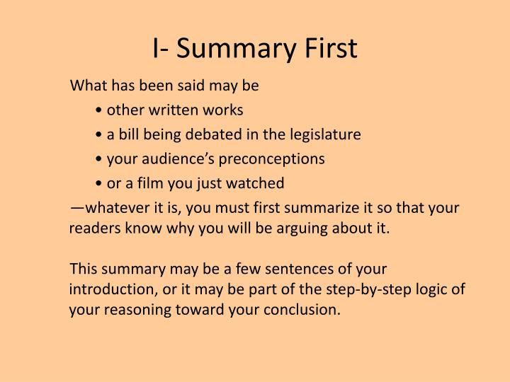 I- Summary First