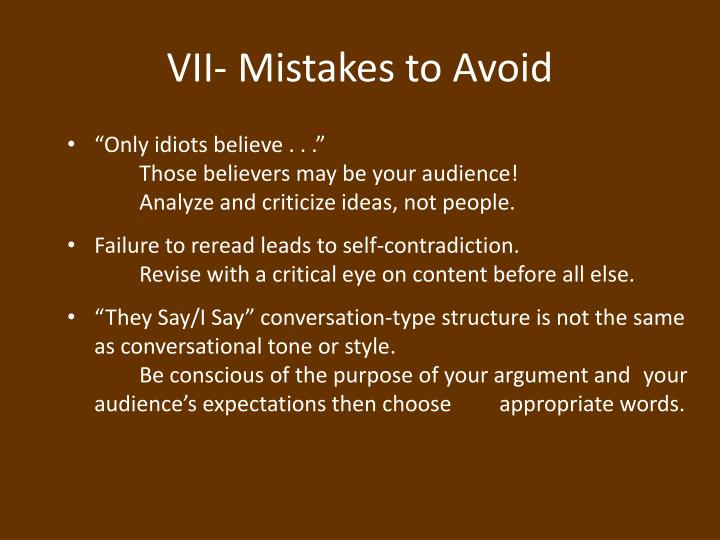 VII- Mistakes to Avoid