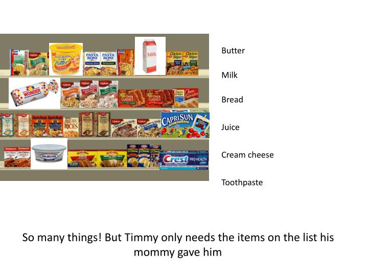So many things! But Timmy only needs the items on the list his mommy gave him
