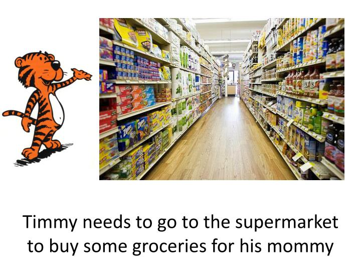 Timmy needs to go to the supermarket to buy some groceries for his mommy