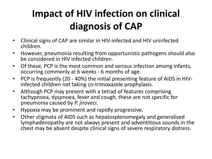 Impact of HIV infection on clinical diagnosis of CAP