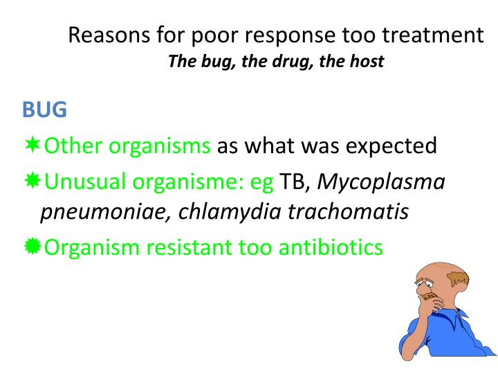 Reasons for poor response too treatment
