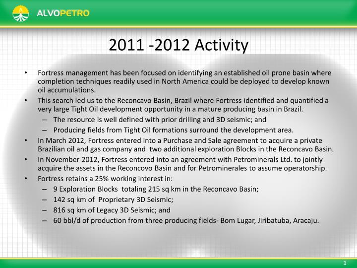 2011 -2012 Activity