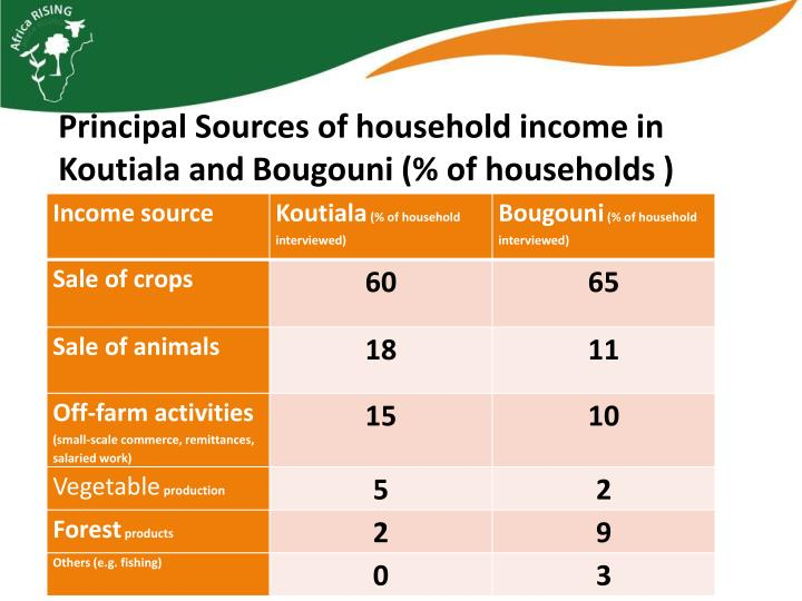 Principal Sources of household income in
