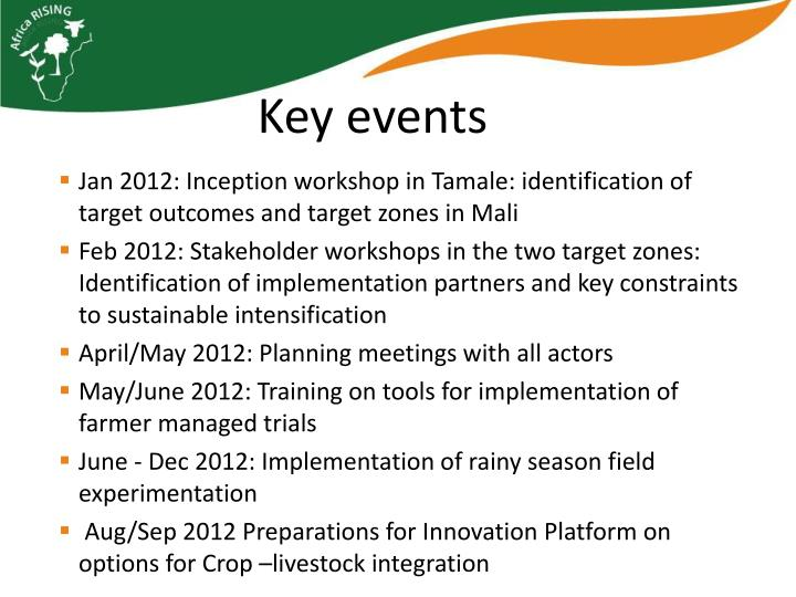 Jan 2012: Inception workshop in Tamale: identification of target outcomes and target zones in Mali