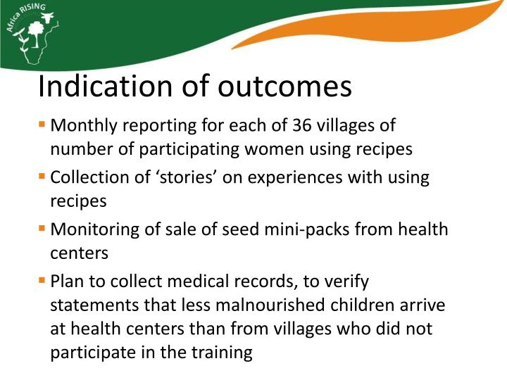 Monthly reporting for each of 36 villages of number of participating women using recipes