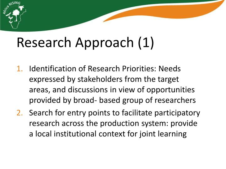 Identification of Research Priorities: Needs expressed by stakeholders from the target areas, and discussions in view of opportunities provided by broad- based group of researchers