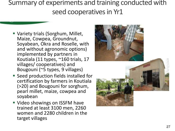 Summary of experiments and training conducted with seed cooperatives in Yr1