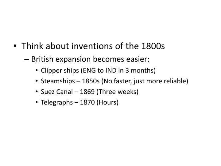 Think about inventions of the 1800s