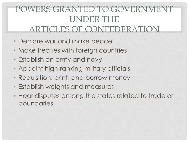 Powers Granted to Government under the