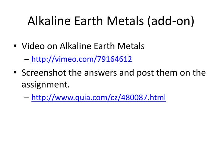 Alkaline Earth Metals (add-on)