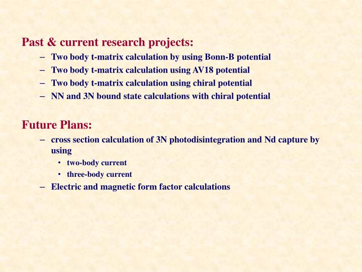 Past & current research projects: