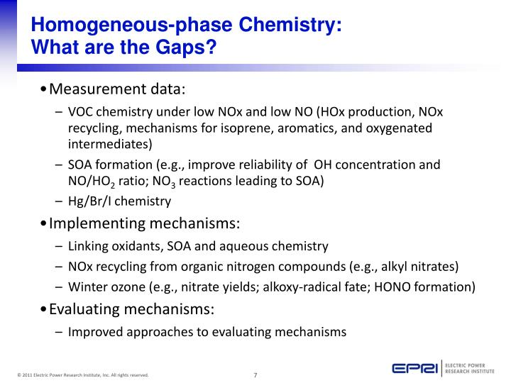 Homogeneous-phase Chemistry: