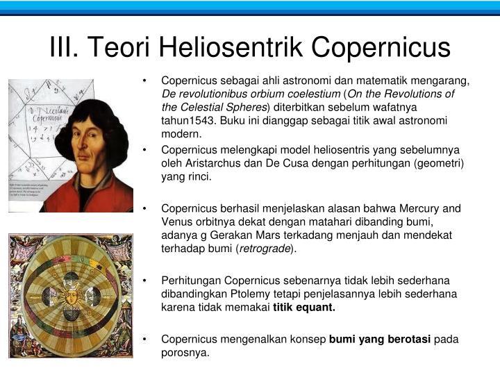 III. Teori Heliosentrik Copernicus