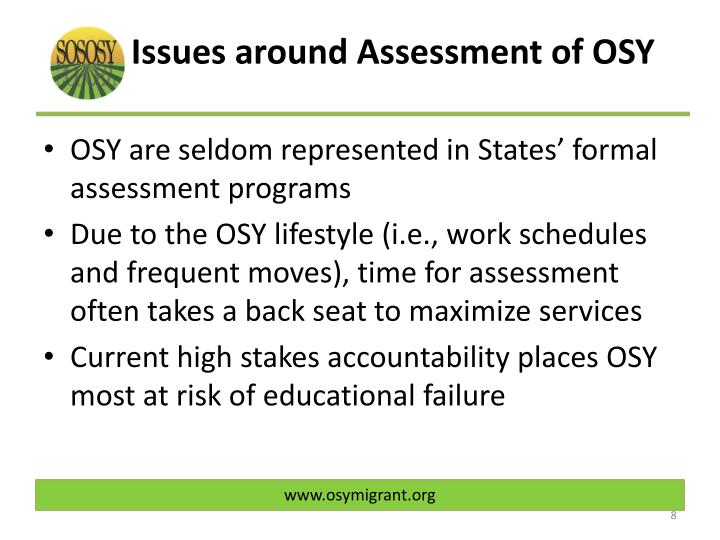 Issues around Assessment of OSY