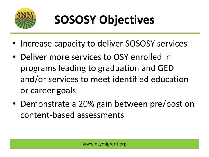 SOSOSY Objectives