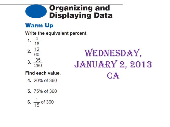Wednesday january 2 2013 ca